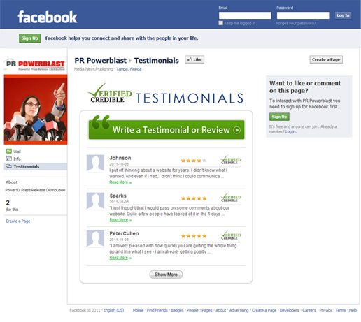 how to create a testimonial page on facebook